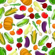 Seamless pattern background of ripe vegetables Stock Illustration