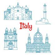 Popular travel landmarks of Italy thin line icon Stock Illustration
