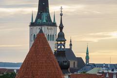 Historical roofs of Tallinn old town Stock Photos