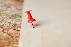 Thumbtack in a Map Stock Photos