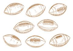 American football or rugby sports balls sketches - stock illustration