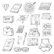 Business, finance and banking sketch icons Stock Illustration