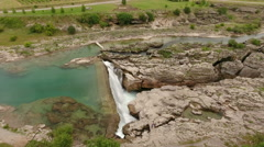 "Canyon of the Cijevna river crossing valley with waterfall ""Montenegrin Niagara"" Stock Footage"