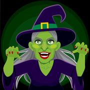 Evil Scary Witch Dark Background Stock Illustration