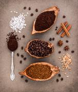 Top view of three different coffee beans and Instant Coffee add aromatic Stock Photos