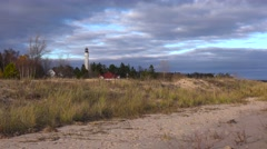 The Coast Guard station and lighthouse at Sturgeon Bay, Wisconsin. Stock Footage
