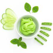 Natural ingredient for skincare and scrub with cucumber. Stock Photos