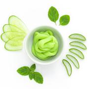 Natural ingredient for skincare and scrub with cucumber, avocado Stock Photos