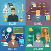Teacher, lawyer, librarian and priest symbols - stock illustration