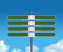 Blank direction sign with 8 arrows (add your text) on sky background. Stock Illustration