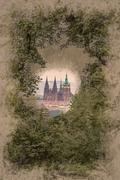 St.Vitus Cathedral seen from a hill Stock Illustration