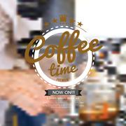 Coffee Time Badge On Blur Background Stock Illustration