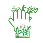 Green Hand Saving Energy Concept Vector Illustration Stock Illustration