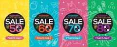 Women Tennis Apparel Super Sale 6250x2500 Pixel Vector Illustration Stock Illustration