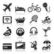 Hotel icons set. Vector illustrations. Stock Illustration