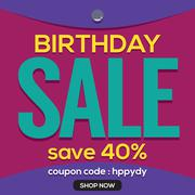 Happy Birthday Sale Banner Vector Illustration Stock Illustration