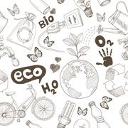 Green world drawing Save the earth concept. Ecology doodles icons vector seam Stock Illustration