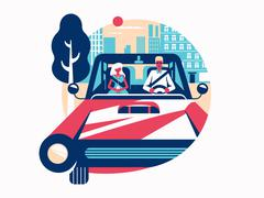 Driver driving a car Stock Illustration