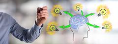 Human brain ideas concept drawn by a man Stock Photos