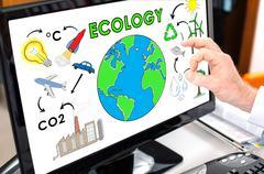 Ecology concept on a computer monitor Stock Photos