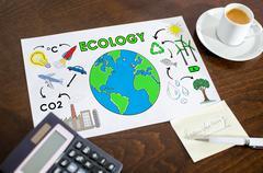 Ecology concept on a paper Stock Photos