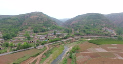UAV aerial view of Rural house in Shanxi, China Stock Footage
