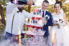 Show of bartender at wedding banquet Stock Photos