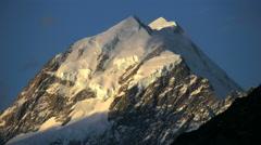 New Zealand Mount Cook golden glow Stock Footage