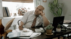 Boss Desk / Manager Office / Boss Doing Nothing / Creative Thinking / No Ideas Stock Footage