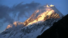 New Zealand Mount Cook clouds across mountains Stock Footage