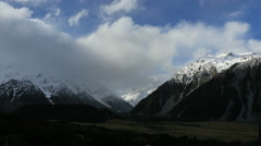 New Zealand clouds over Mt Cook time lapse Stock Footage