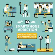 Smart phone addiction Stock Illustration
