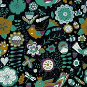 Colorful seamless botanic texture, detailed flowers illustrations Stock Illustration