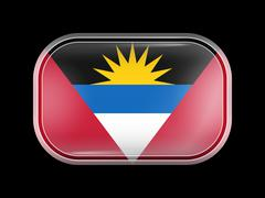 Flag of Antigua and Barbuda. Rectangular Shape with Rounded Corners Stock Illustration