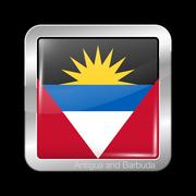 Flag of Antigua and Barbuda. Metal Icon Square Shape Stock Illustration