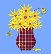 Abstract vase with yellow flowers Stock Illustration