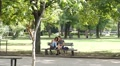 Teenager girls sit on bench in park with smart phone play app chase pokemons Footage