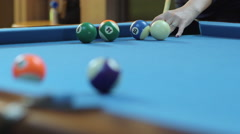 Woman Missing Pool Shot on Blue Billiards Table Stock Footage