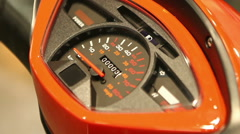 Closeup of speedometer on electric scooter, needle pointing at zero, technology Stock Footage