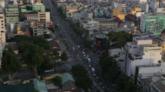 4K Aerial view busy traffic at intersection, Ho Chi Minh City/Saigon, Vietnam Stock Footage