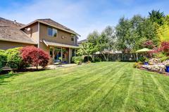 Backyard garden with beautiful landscape. Northwest, USA Stock Photos