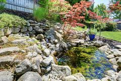 Tropical landscape design on backyard. View of small pond with rocks and smal Stock Photos