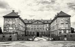 Old castle in Holic, Slovakia, cultural heritage, black and white Stock Photos