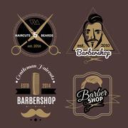 Barbershop Emblems Set Stock Illustration