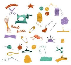 Hand drawn color set of sewing tools Stock Illustration