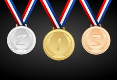 Set of gold, silver and bronze medals with ribbons - vector graphic Stock Illustration