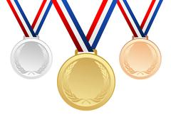 Set of gold, silver and bronze blank award medals with ribbons - vector graph Stock Illustration