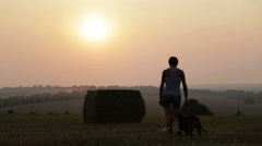 Silhouette of a young girl with a dog in the manger. Stock Footage