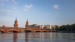 Timelapse of Oberbaum Bridge in Berlin Stock Footage