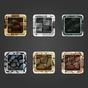 Set of shiny stone concave square button - stock illustration